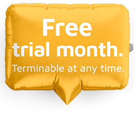 1 month free trial. Terminable at anytime.